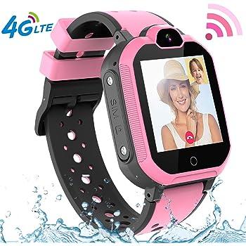 PTHTECHUS 4G Smartwatch Enfants étanche Montre Intelligente Téléphone Compatible avec iOS Android SOS Appelez la caméra à Distance Appel à Deux Voies Écran(Rose)