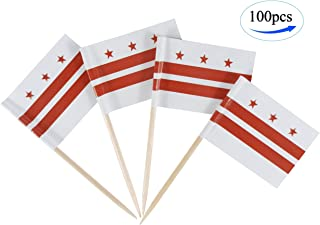 JBCD District of Columbia Flag Toothpicks Washington D.C. Flags Party Cupcake Topper Cocktail Tooth Picks Decorations Toothpick Flag Bar Picks Cup Cake Mini Small Paper Flags State Food Thin Sticks