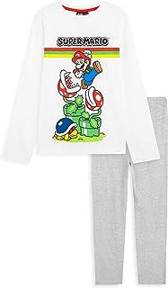 Super Mario Pijama Niño, Pijama Niño Invierno de Algodon, Conjunto de 2 Piezas Camiseta Manga Larga y Pantalon, Regalos pa...