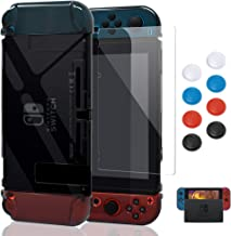 Case for Nintendo Switch,Fit The Dock Station, Protective Accessories Cover Case for Nintendo Switch and Joy-Con Controller - Dockable with a Tempered Glass Screen Protector,Crystal Clear Black