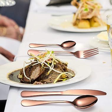 YiMeng 24-Piece Silverware Set , Stainless Steel Flatware Cutlery Set Include Knife/Fork/Spoon/Teaspoon For Home Kitchen Rest
