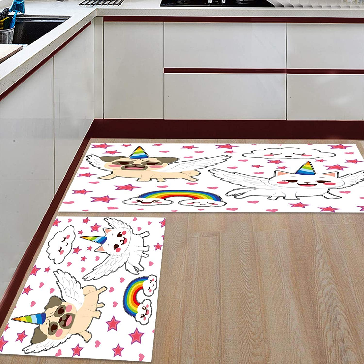 Kitchen Rugs Sets 2 Piece Floor Mats Cute Unicorn Dog Cat and Rainbow Clouds Doormat Non-Slip Rubber Backing Area Rugs Washable Carpet Inside Door Mat Pad Sets (23.6  x 35.4 +23.6  x 70.9 )