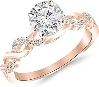 1.13 Carat Twisting Infinity Gold and Diamond Split Shank Pave Set Diamond Engagement Ring 14K White Gold with a 1 Carat J-K I2 Round Brilliant Cut/Shape Center