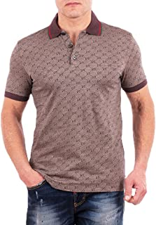 Polo Shirt, Mens Brown Short Sleeve Polo T- Shirt GG Print