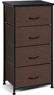 TomCare Dresser 4-Drawer Storage Drawers Dressers Thicken Wood Tabletop Fabric Bins with Handles Steel Frame Closet Drawers Clothing Storage Dresser Organizer for Bedroom, Brown/Black