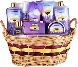 "Lavender Deluxe ""Complete Spa at Home Experience"" 10 Piece Gift Basket for Women by Draizee – #1 Best Gift - Skin Care Set with Lotions, Creams, Bath Bombs & More"