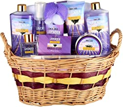 """Lavender Deluxe """"Complete Spa at Home Experience"""" 10 Piece Gift Basket for Women by Draizee – #1 Best Gift - Skin Care Set with Lotions, Creams, Bath Bombs & More"""