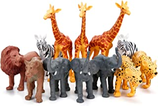 Jumbo Safari Animal Figurines Toys, 12 Piece African Jungle Zoo Animals Figures, Realistic Wild Plastic Animals Toy with Elephant, Giraffe, Lion Educational Playsets for Toddlers, Kids Birthday Set