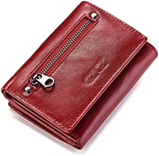 Mens Leather Bag Genuine Cowhide Purse Multi-Slot Three-fold Head Cowhide Fashionable Casual Lady's Purse Bag (Color : Red, Size : S)