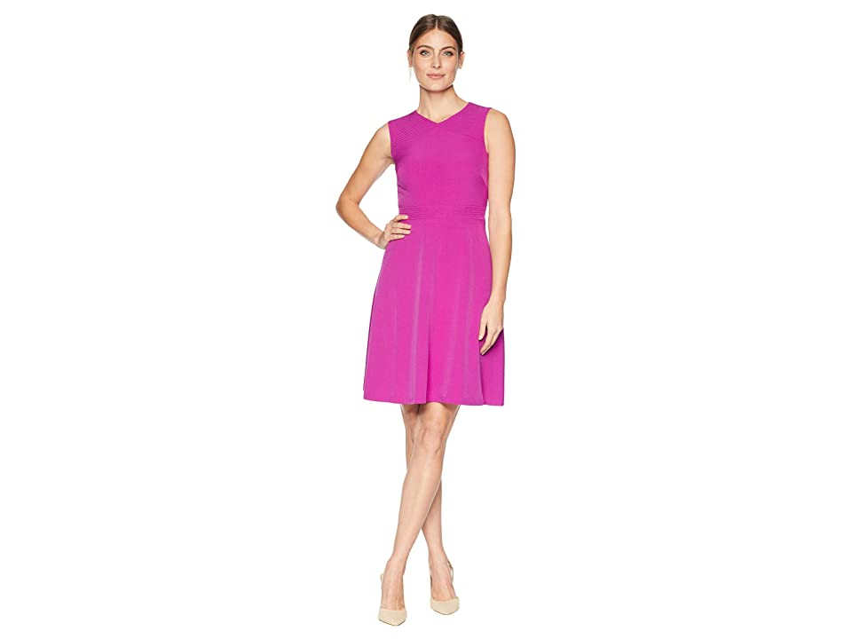 Tahari by ASL Sleeveless Fit Flare Dress w/ Modified V-Neck and Waist Detail (Fuchsia) Women