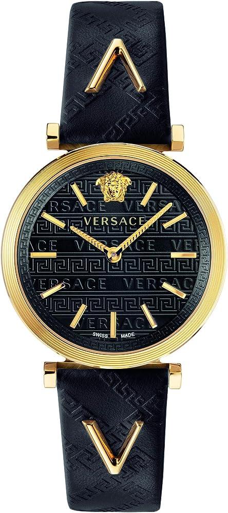 Versace - v-twist orologio da donna con cassa in acciaio inossidabile e cinturino in vera pelle VELS00619