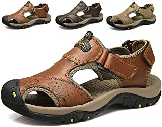 Athletic Slides Sandals Sports Men Breathable Leather Outdoor Leisure Non-Slip Beach Shoes Slippers Hiking Fisherman