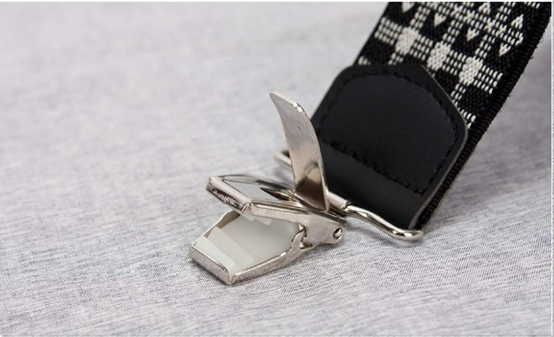 [READYCO] Checkered Black Clip Men's Pants Suspenders, Black, 1.38