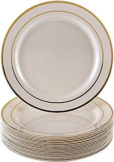 VAJILLA PARA FIESTAS DESECHABLE DE 20 PIEZAS | 20 platos auxiliares| Platos de plástico resistente | Elegante aspecto de porcelana fina | Para bodas y comidas de lujo (Marfil/Borde dorado| 19 cm)