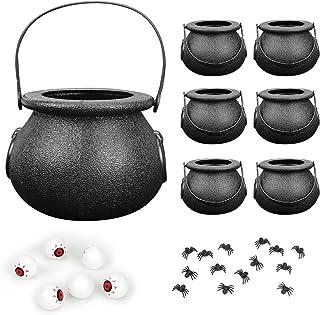 FORMIOZN 7 Pcs Noir Chaudrons avec Poignées, Chaudron de Sorcière Noire, Mini Chaudron Bouilloires Tasses avec 6 Globes Oc...