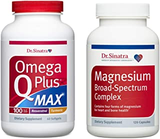 Dr. Sinatra's Omega Q Plus MAX with 100 mg of CoQ10 and Magnesium Broad-Spectrum Complex Ultimate Heart Health Bundle | Ad...