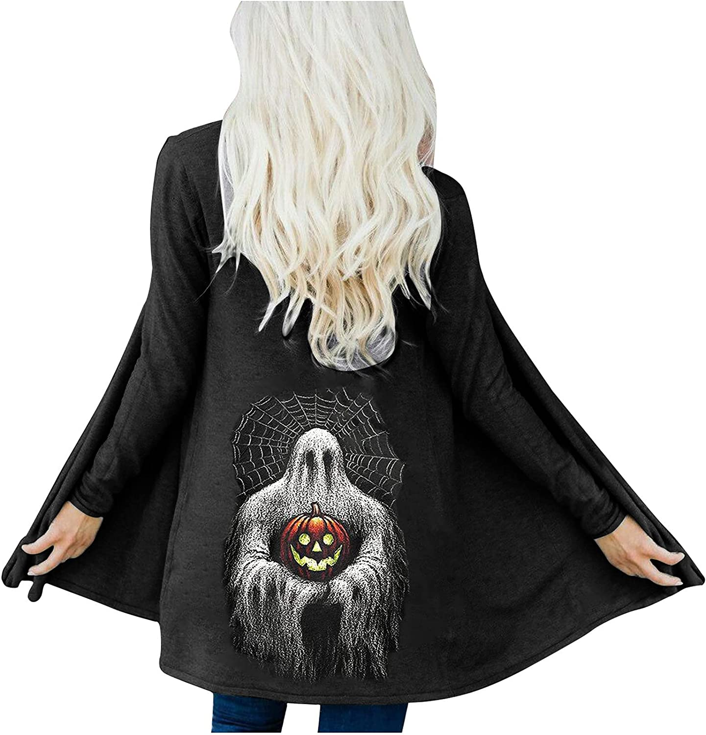 Womens Halloween Skeleton Black Ghost Graphic Tops Long Sleeve Open Front Cardigan Blouse Lightweight Blouse Coat