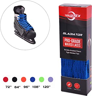 Rollerex Gladiator Waxed Hockey Skate Laces (Multiple Size and Color Options)