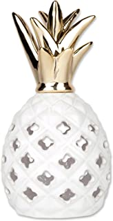 DII Ceramic Pineapple Shaped White and Gold LED Lantern, Trendy and Chic Interior Accent for Bedroom, Kitchen, Living room - Large