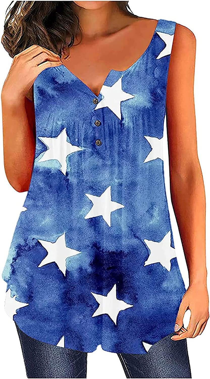 5665 O Neck Vest for Womens Cute Graphic Tank Tops Sleeveless Love Heart Loose Independence Day Printing Relaxed Tops