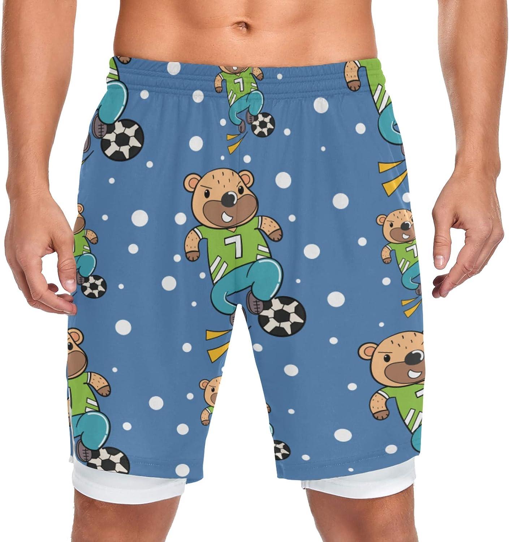JIUCHUAN Running Shorts Cute Bear Men Football Training online shopping Max 44% OFF Playing