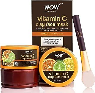 WOW Skin Science Vitamin C Glow Clay Face Mask with Lemon & Orange Essential Oils, Jojoba Oil & Bentonite Clay - For All S...