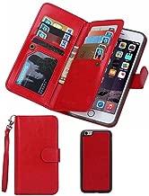 Prime Clearance Sale & Deals Day-For iPhone 6plus Wallet Case,Valentoria Premium Vintage Leather Wallet Case Magnetic Detachable Slim Back Cover Card Holder Slot Wrist Strap Case (iPhone 6plus, Red)