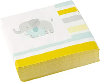 C.R. Gibson Mom and Baby Elephant Dessert and Luncheon Napkins, 40pc, 6.5'' W x 6.5'' L