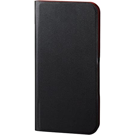 Elecom宜麗客 iPhone X 手機殼 翻蓋式 皮革 超細 帶磁鐵 可在睡眠中使用 黑色 PM-A17XPLFUPBK, 黑色