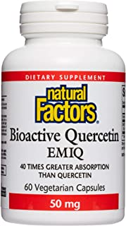 Natural Factors, Bioactive Quercetin EMIQ, All Year Support for Healthy Inflammatory Responses and Sinuses, 60 Capsules (6...
