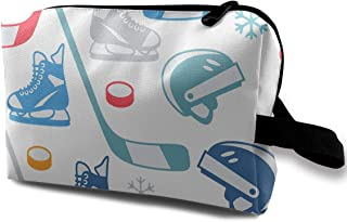 Portable Waterproof Travel Cosmetic Bag - Ice Hockey Equipment Elements Lady Makeup Organizer Clutch Bag with Zipper - Travel Toiletry Storage Pouch Pencil Holder