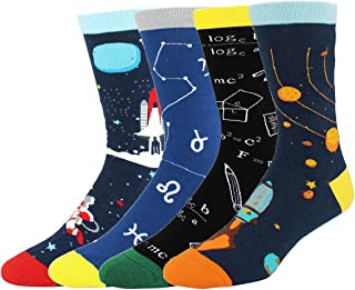 e130ab1fde20 Happypop Novelty Funny Crazy Food Crew Socks Colorful Fun Cool Space Animal Dress  Socks for Men