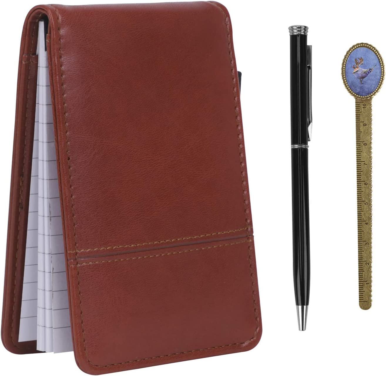 Leather Memo Book with Max 44% OFF Calculator A7 Limited time sale Notebook Pocket Cover Jotte