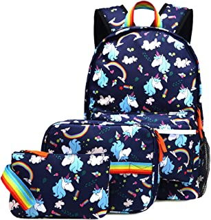 Unicorn Backpack for Girls School Bookbag 3 Pieces Cute Inicorn Rainbow Book Bags 14inch Laptop Bag for Girl, Navy Blue