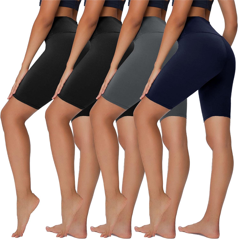 "Sundwudu 4 Pack Biker Shorts for Women - 8"" High Waist Tummy Control Summer Workout Shorts for Running Yoga Athletic"