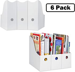 Magazine File Holder (Set of 6, White), Sturdy Cardboard Magazine Holder, Folder Holder, Magazine Organizer, Folder Organizer, Magazine Box, File Storage, or Book Bins for Classroom Library Organizer