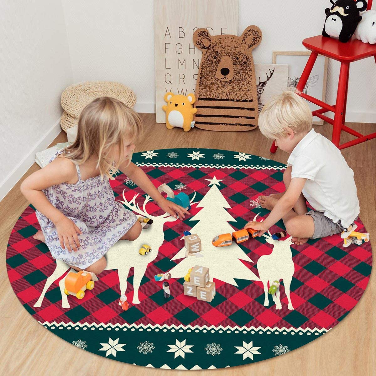 LIFEMUSION New popularity Area Round Rug for Christmas El Modern Indoor Limited time cheap sale Outdoor