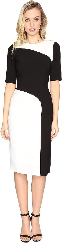 Crepe Color Block Sheath Dress