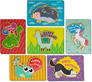 Best Paper Greetings Handmade Kids Birthday Cards with Envelopes (12 Pack) 6 Animal Designs