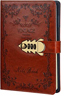 A5 Diary with Lock Digital Password Notebook PU Leather Diary with Combination Lock Password Locking Personal Diary