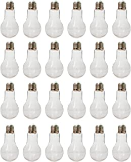 """Houseables Fillable Light Bulb, Candy Container, Plastic, 100 ML, 1"""" W x 4.9"""" L, 24 Pack, Clear, Fake Lightbulb, Jar for Drinking, Christmas Ornaments, Party Favors, Crafts, Decorations, Cups"""
