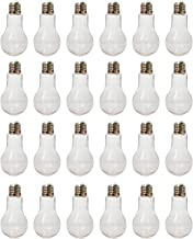 "Houseables Fillable Light Bulb, Candy Container, Plastic, 100 ML, 1"" W x 4.9"" L, 24 Pack, Clear, Fake Lightbulb, Jar for Drinking, Christmas Ornaments, Party Favors, Crafts, Decorations, Cups"