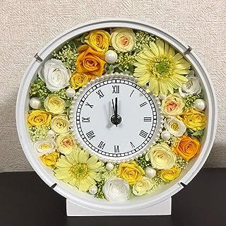プリザーブドフラワー 花時計 ラウンド 置き時計 お祝い プレゼント ギフト 花 おしゃれ パール afc-p010