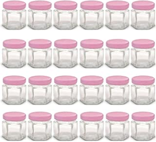 1.5 oz Mini Glass Jars with Pink Lids and Labels (Pack of 24) 1.5 oz Glass jar modern canning jars Glass canisters jars Gl...