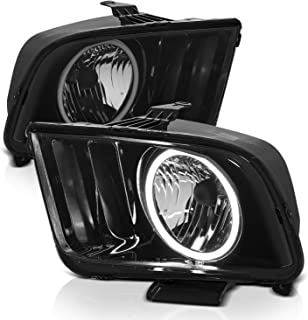 AmeriLite Smoke Intense LED Halo Headlights Pair for Ford Mustang 2005-2009 - Passenger and Driver Side