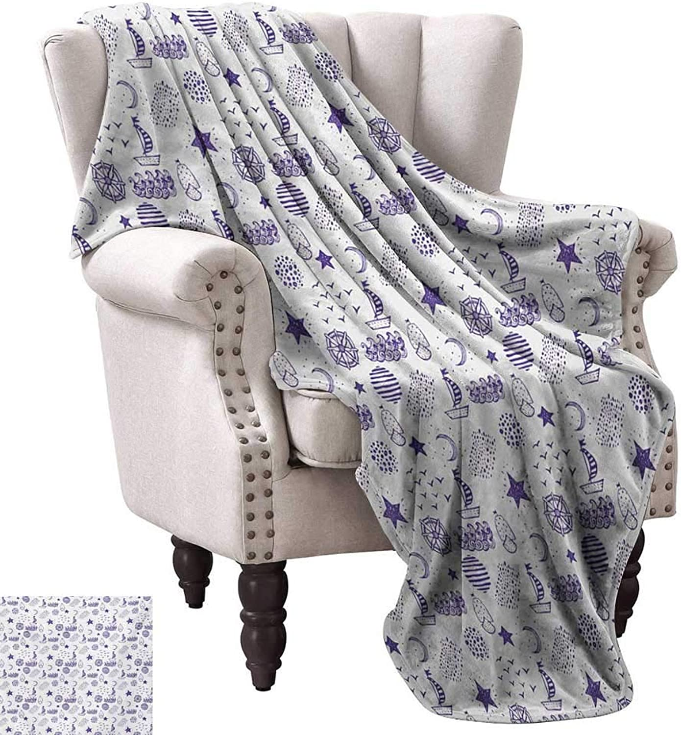 Anyangeight Warm Microfiber All Season Blanket,Hand Drawn Boat Stars Flying Gulls Crescent Moon Shell Waves Kids Girls Cute Pattern 70 x60 ,Super Soft and Comfortable,Suitable for Sofas,Chairs,beds
