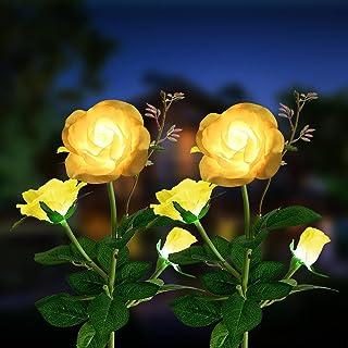 Solar Lights Outdoor Garden Decor, Oidist 2pcs Flowers Lights with 6 Rose, Waterproof Garden Lights for Patio, Pathway, Ya...