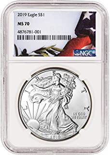 2019 Silver Eagle W/Flag Label $1 MS-70 NGC