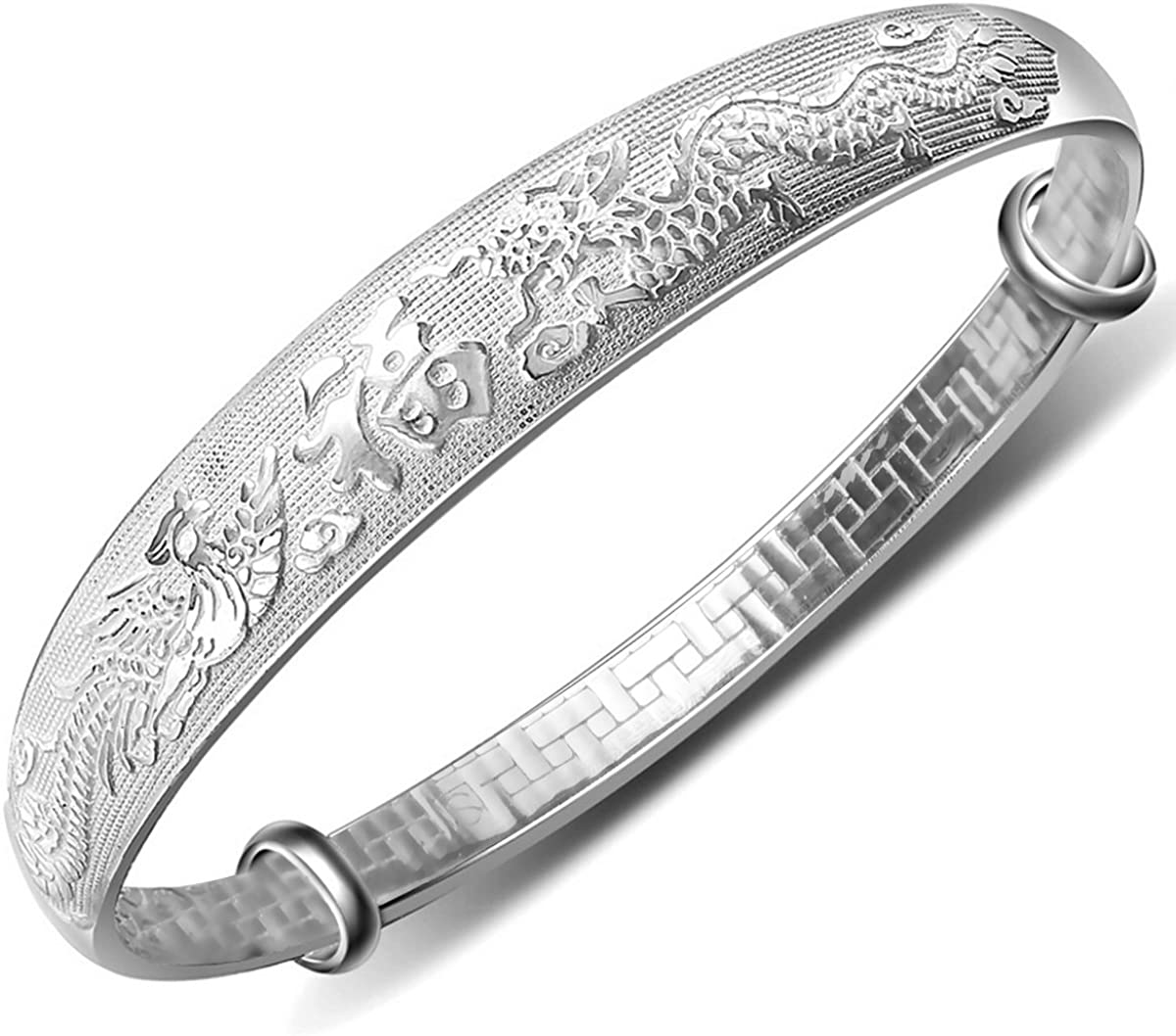Merdia Women's Manufacturer direct delivery 999 Solid Sterling Phoenix Dragon Selling rankings Chinese Silver