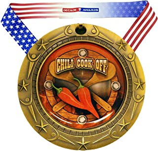 Decade Awards Chili Cook-Off Medal World Class Medal - 3 Inch Wide Chili Competition Medallion with Stars and Stripes American Flag V Neck Ribbon